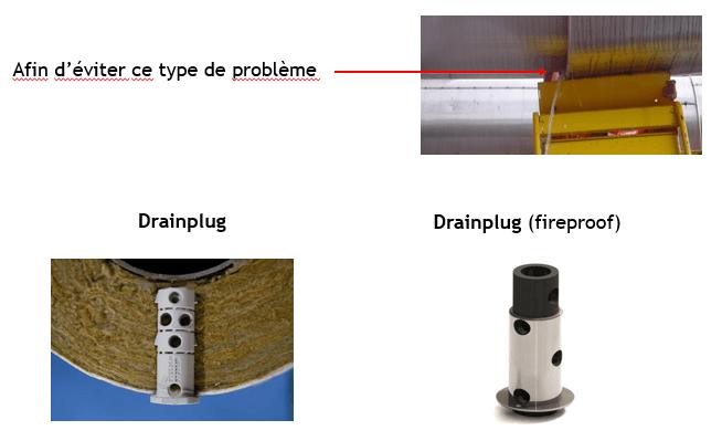 Chevilles de drain corrosion sous isolation